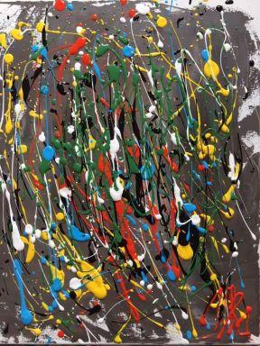 Abstract Acrylic 16 in x 20 in / 40.6cm x 50.8 cm Signed Ilka Oliva Corado $100